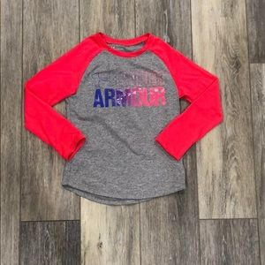 Girls Under Armour athletic long sleeve tee size 5